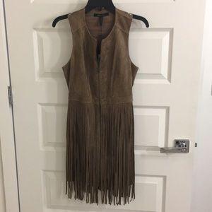 BCBG western inspired fringe suede dress